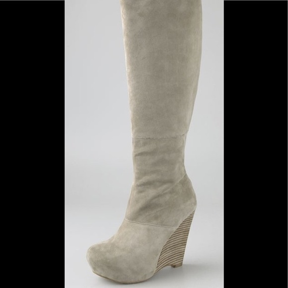 998fab4f5a05 L.A.M.B. Shoes - L.A.M.B. Poppy tan suede wedge knee high boots